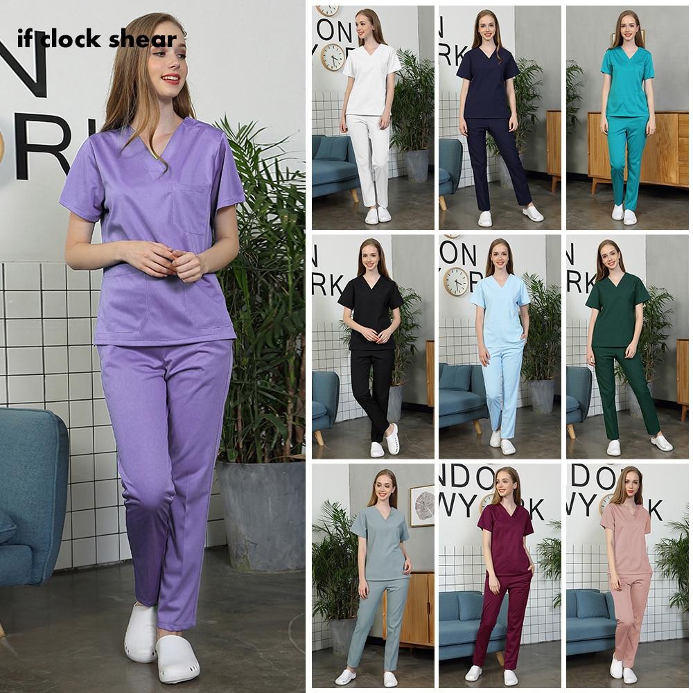Pet Hospital Nurse Short-sleeved Uniform Suits Medical Doctor Sets Dental Clinic Beauty Salon Workwear Surgical Overalls Clothes