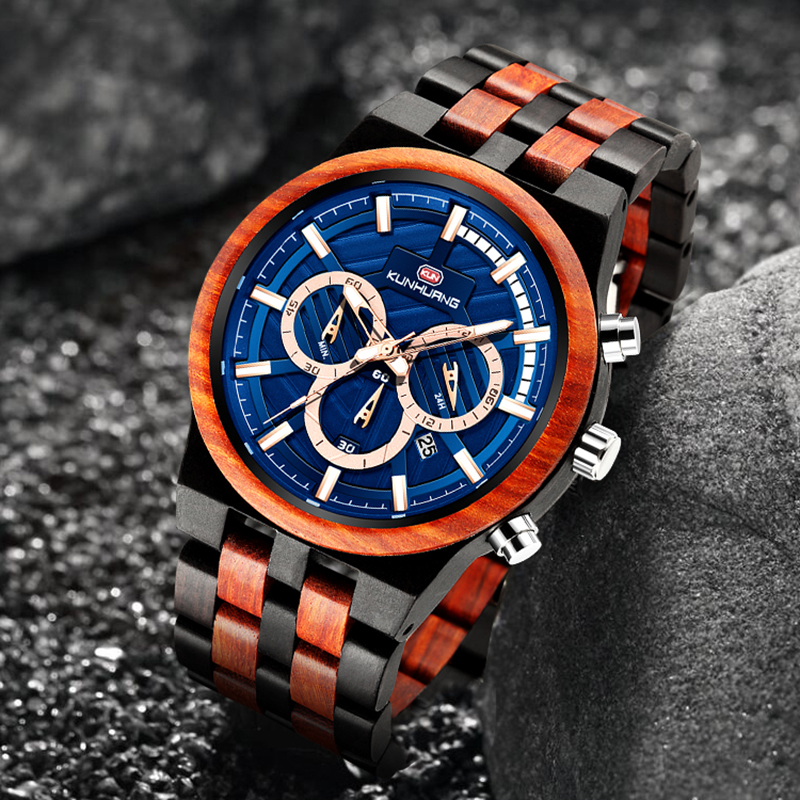 Wood Watch Men Fashion Business Quartz Wooden Watches Male Brand Luxury Chrongraph Sport Luminous Creative Military Wrist Watch