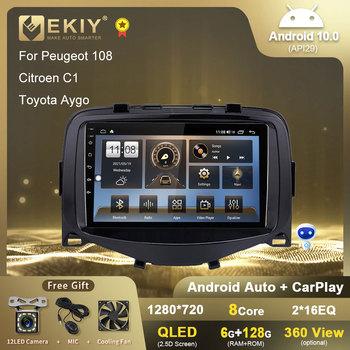 EKIY Android 10 Radio samochodowe dla Peugeot 108 Citroen C1 Toyota Aygo odtwarzacz multimedialny nawigacja GPS Radio samochodowe Stereo nr 2 din DVD tanie i dobre opinie CN (pochodzenie) podwójne złącze DIN NONE 4*45w JPEG ABS+Metal For Peugeot 108 Citroen C1 Toyota Aygo 1280*720 1 5kg