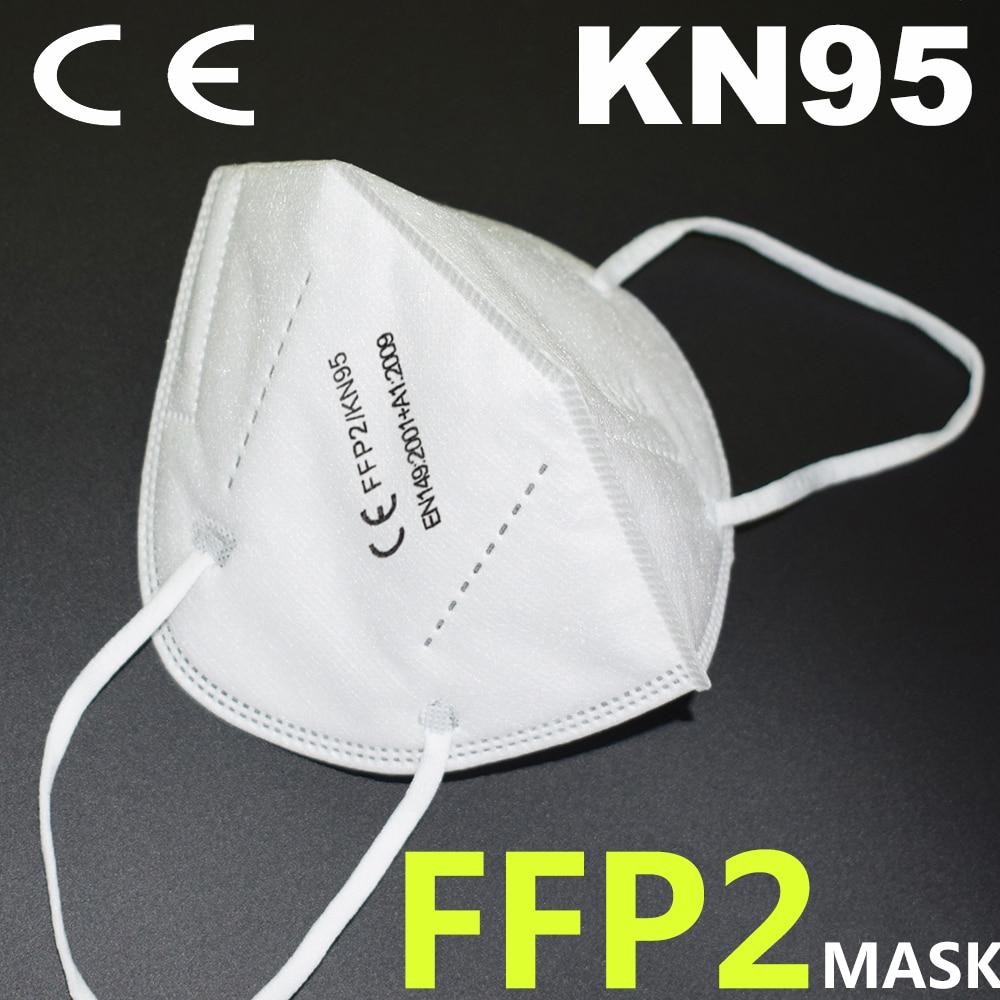 Masque FFP2 KN95 pour la protection faciale et buccale, avec filtre, anti-grippe, noir ou blanc 2