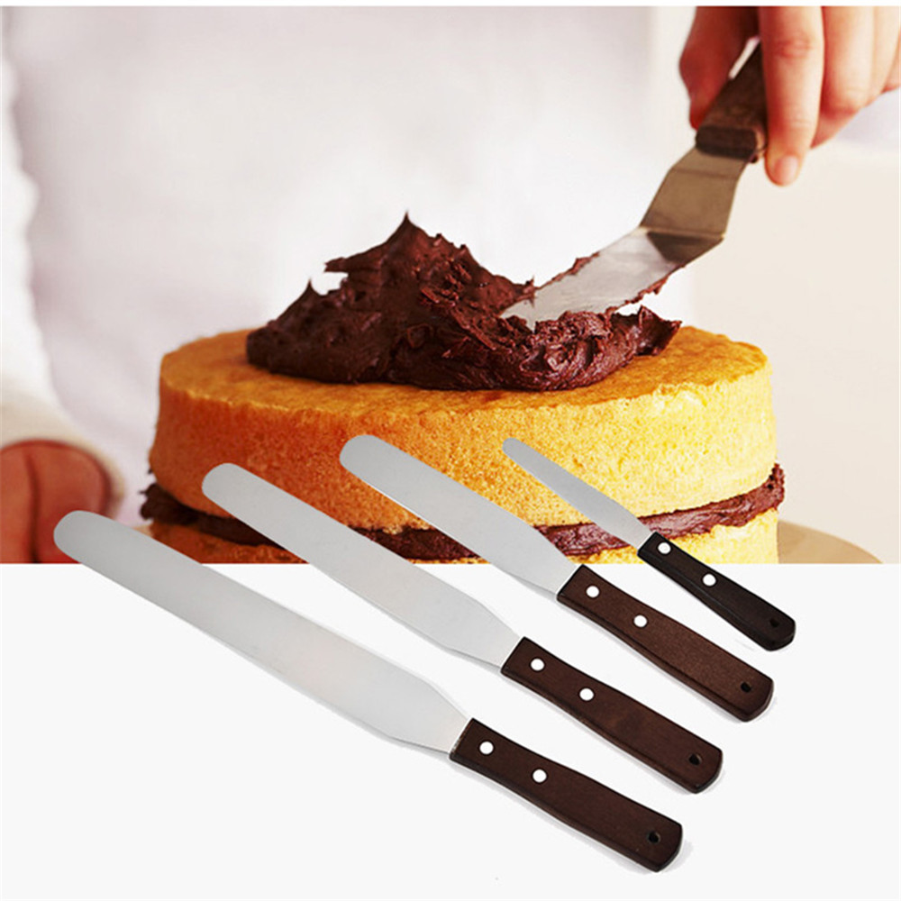New 4/6/8/10 Inch Stainless Steel Wooden Handle Spatula Cream Butter Scraper Batter Cake Spatula Baking And Pastry Spatulas Tool