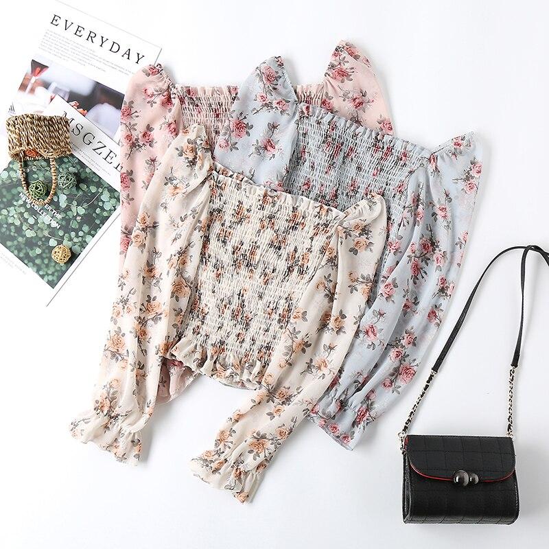 Women Blouse 2020 Spring Summer Female Long Sleeve Casual Chiffon Shirt Print Floral Raglan Short Blouses Boho Pullover Tops