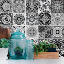 Mandala Pattern Arabic Tiles Wall Stickers Renovation Art Mural Removable Wall Decals Art Wallpaper Grey Kitchen Floor Home PVC