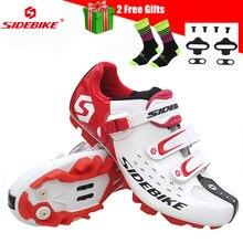 SIDEBIKE-zapatos de bicicleta de montaña para hombre y mujer, zapatillas deportivas con autosujeción, color blanco
