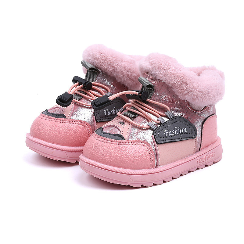 New Girl Boy Snow Boots 2019 Winter For Kids Comfort Thick Antislip Short Boots Fashion Children Cotton-padded Shoes EU 21~25