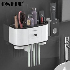 Image 1 - ONEUP Tandenborstelhouder Automatische Tandpasta Dispenser Squeezer Wall Mount Badkamer Opbergrek Thuis Badkamer Accessoires Sets
