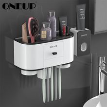 ONEUP Toothbrush Holder Automatic Toothpaste Dispenser Squeezer Wall Mount Bathroom Storage Rack Home Bathroom Accessories Sets