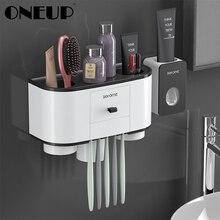 Oneup 칫솔 홀더 자동 치약 디스펜서 압착기 벽 마운트 욕실 스토리지 랙 홈 욕실 액세서리 세트
