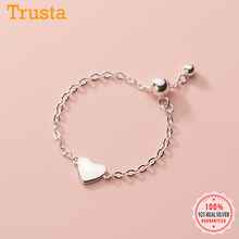 TrustDavis Real 925 Sterling Silver Fashion Romantic Sweet Heart Chain Ring Sizable For Women Wedding Party Fine Jewelry DA1885