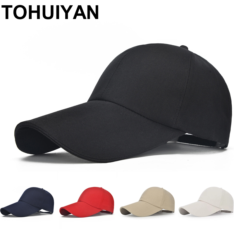 TOHUIYAN Lange Visier Cap Casual Outdoor Knochen Baseball Caps Für Männer Hüte Frauen Leinwand Snapback Hüte Sommer Sonnenschirm Sport Caps
