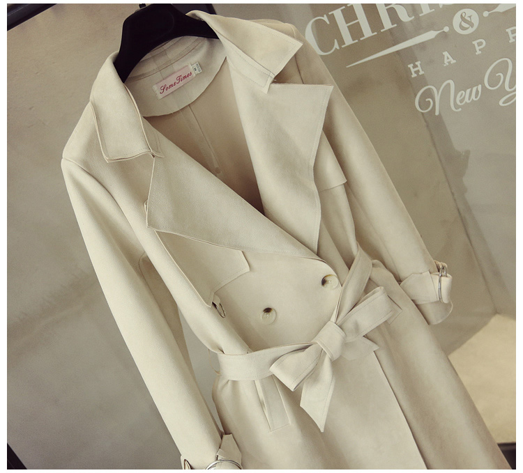 Turn Down Collar Sash Suede Long Trench Coat 4