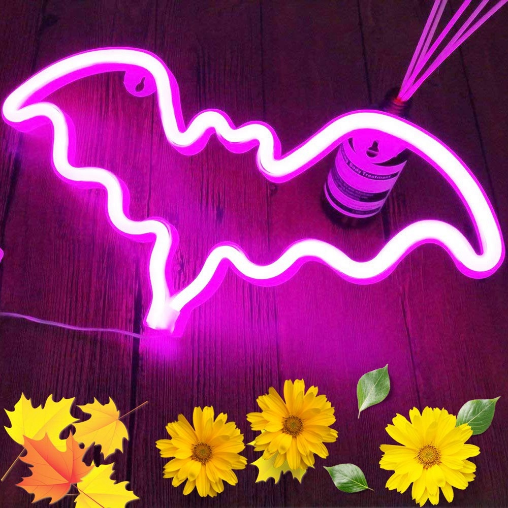 Pink Bat Shaped Neon Signs Led Safety Halloween Art Wall Decoration Lights Neon Table Lamp for Kids Gift Baby Room Wedding Home image