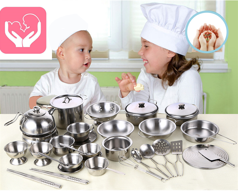 Steel Realistic Cooker Kid's Kitchen Toys Pretend Play Anti-fall Stainless Educational Children New Year Baby Girl Birthday Gift