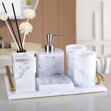 Tray Bathroom-Accessories-Set Nordic Marble-Texture White 5pcs-Set Soap-Dispenser Resin