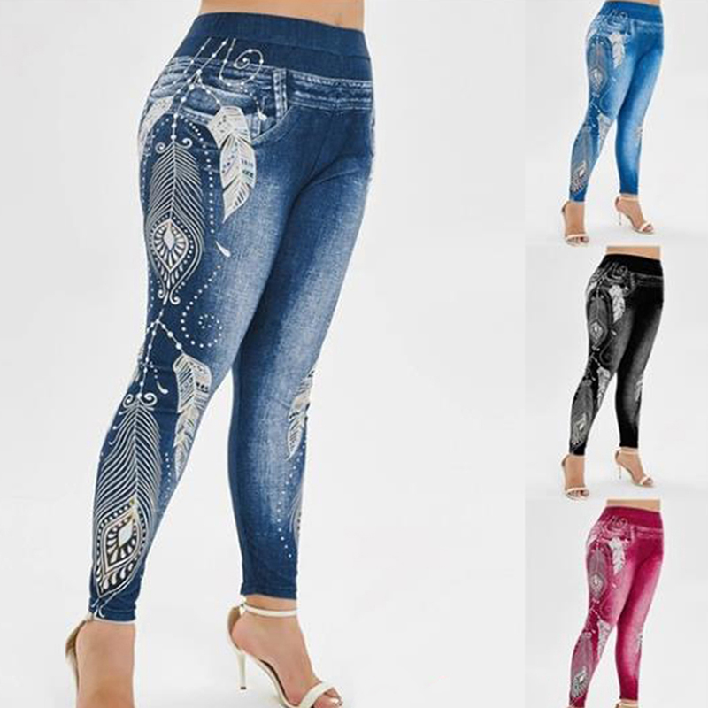 Women High Waist Pants Jeans 3D Printed Fitness Leggings Slimming Leggings Printed Plus Size Denim Jeans Leggings Pocket