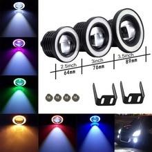 цена на 2 Pcs/set Universal Car Light LED Fog Light White Angel Eye  Ring Driving Projector Bulbs Lamps Car COB Light LED Fog Lamp