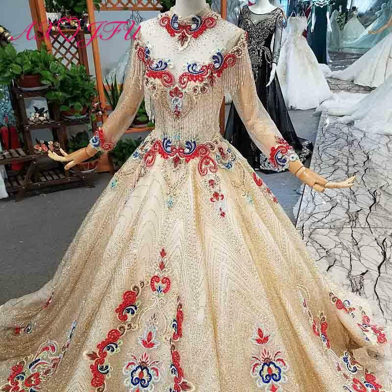 Image 3 - AXJFU роскошное платье принцессы с бусинами и красным цветком, Золотое кружевное платье с высоким воротом и длинным рукавом, свадебное платье для невесты 4041Свадебные платья    АлиЭкспресс