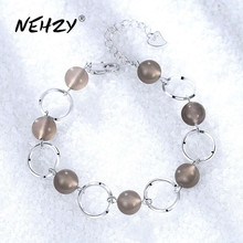 NEHZY 925 sterling silver jewelry bracelet high quality retro fashion woman agate round DIY bracelet length 20CM