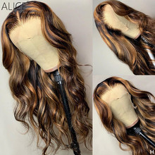 ALICE Highlight Wave T-part Lace Front Human Hair Wigs Scalp Top Closure Wigs With Baby Hair 150% Density Non-Remy(China)