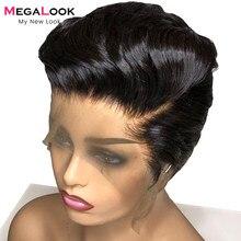 Pixie corte peruca dianteira do laço peruca de cabelo humano peruca brasileira em linha reta perucas da parte dianteira do laço para as mulheres 180 cabelo humano glueless perucas curtas