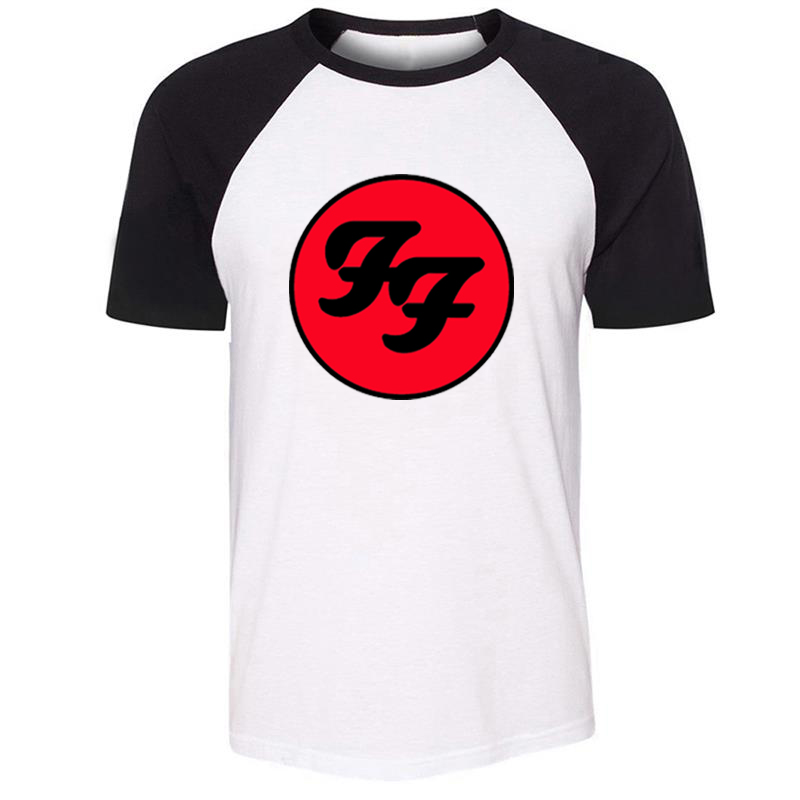 iDzn Unisex Summer T-shirt Foo Fighters Hard Rock And Roll Band Pattern Design Raglan Short Sleeve Men T shirt Casual Tee Tops image
