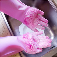 Brush Gloves Scrub Dish-Washing Kitchen-Accessories Clean Silicone Magic A-Pair