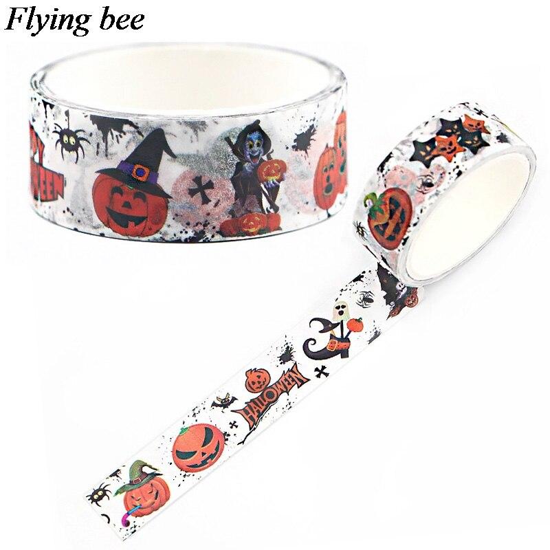 Flyingbee 15mmX5m Paper Washi Tape Halloween Pumpkin Adhesive Tape DIY Scrapbooking Horror Sticker Label Masking Tape X0610