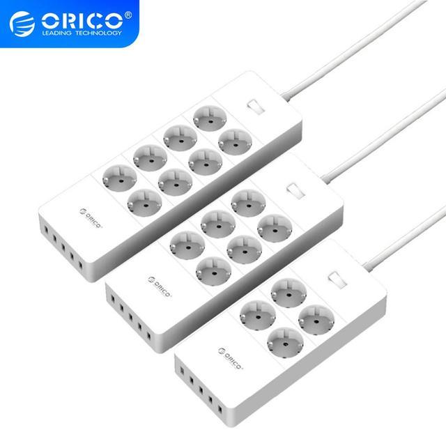 ORICO Smart multiprise Portable chargeant 4/6/8 prises avec 5 2.4 A 40W USB chargeur Ports Protection contre les surtensions avec 1.5m cordon dalimentation