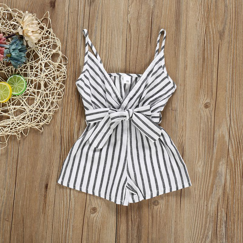Summer Newborn Baby Romper Sleeveless Striped Baby Girl Strap Jumpsuit Fashion V-neck Newborn One-piece Outfit Baby Clothes