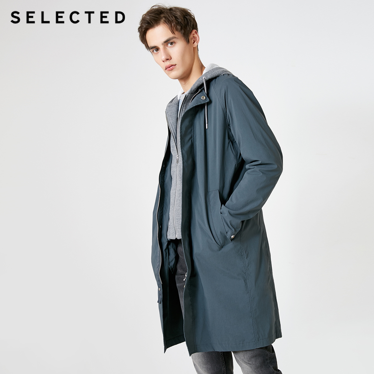 SELECTED Men's Mid-length Hooded Fake Two-piece Trench Coat S|419121526