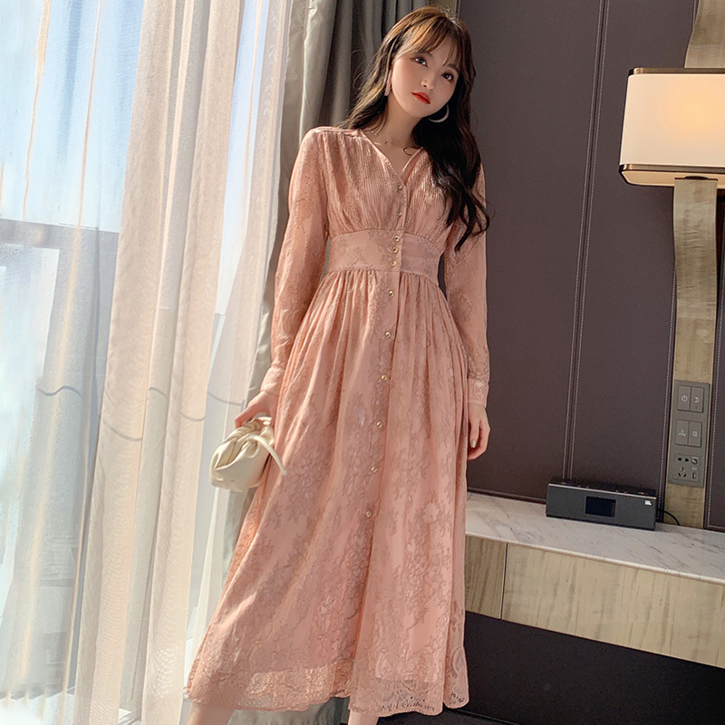 Fashion Women Comfortable Elegant V-neck Formal Dress New Arrival Vintage Classical Lace Perspective Beach Long A-line Dress