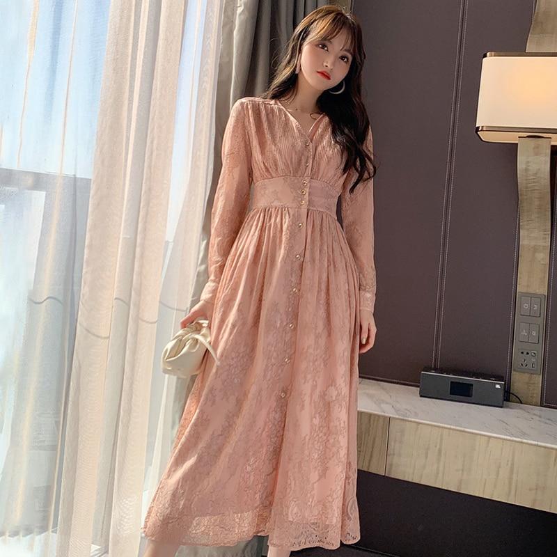 Fashion Women Comfortable Elegant V-neck Formal Dress New Arrival Vintage Classical Lace Perspective Beach Long A-line Dress