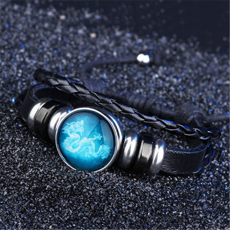 Charm Luminous 12 Constellations Leather Bracelet Zodiac Sign with Beads Bangle Bracelets For Men Glow in the Darkness Jewelry