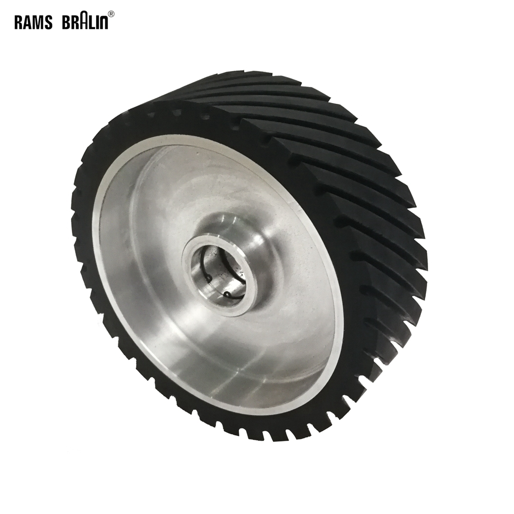 250*75mm Grooved Rubber Contact Wheel Dynamically Balanced Belt Sander Polisher Wheel Sanding  Belt Set