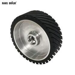 250*75mm rainuré caoutchouc Contact roue dynamiquement équilibré ponceuse à bande polisseuse roue ponçage ceinture ensemble
