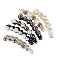 Neue Perle Banana Form Damen Vertikale Clip Pferdeschwanz Twist Clip Mode Hairclip Kopfschmuck