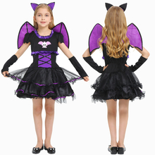 New Vampire Purple Bat Costume Cosplay For Girls Halloween Costume For Kids Carnival Party Bat Princess Dress Up Suit halloween costumes for girls princess dress kids vampire clothes cosplay bat set for party outfit boys costume children clothing