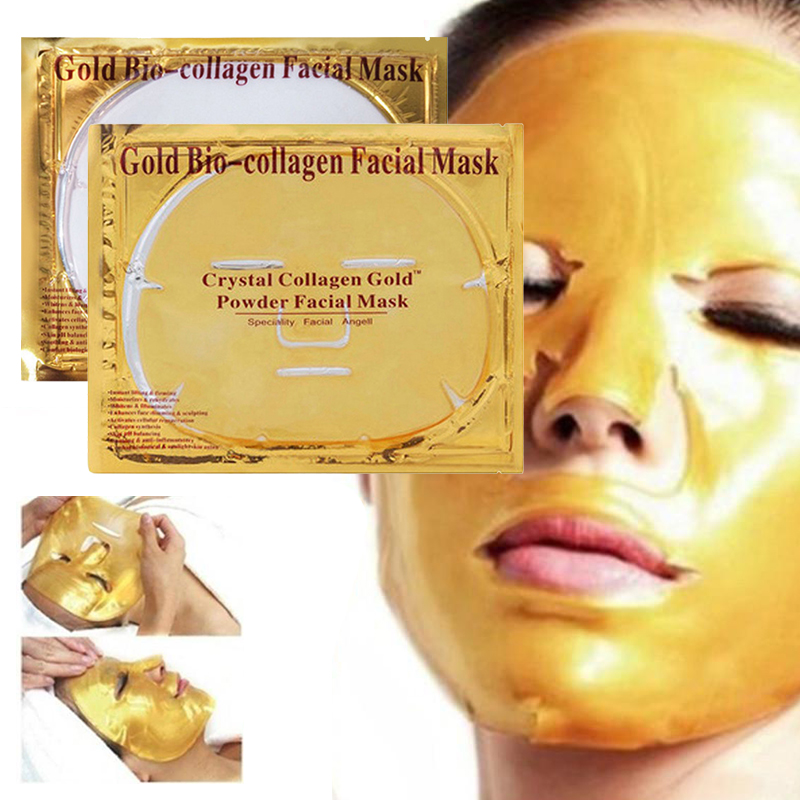New 1pcs 24k Gold Collagen Face Masks Anti-aging Wrinkle Acne Firm Hydrating Whitening Mask Shrink Pores Skin Care Facial Mask