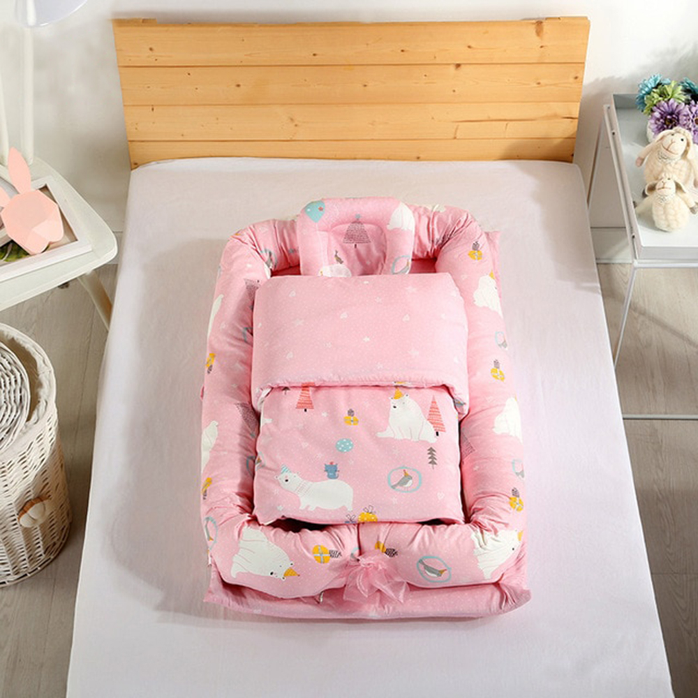 Co-Sleeping Cribs Baby Bed Crib Portable Washable Travel Isolated Bed Suit With Blanket For 0-3Y Children