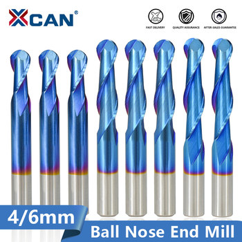 цена на XCAN Ball Nose End Mill 4/6mm Shank 2 Flute CNC Router Bit Nano Blue Coated Carbide Milling Cutter