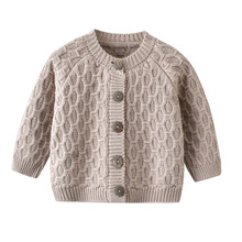 Autumn Winter Baby Unisex Knitted Sweater Cardigans Fashion Solid Color Kids Cotton Knitwear Top Soft Warm Children Clothes 1-2Y