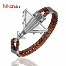 MKENDN New Design Braided Genuine Leather Bracelets Men Stainless Steel Airplane Anchor Female Friendship Gifts