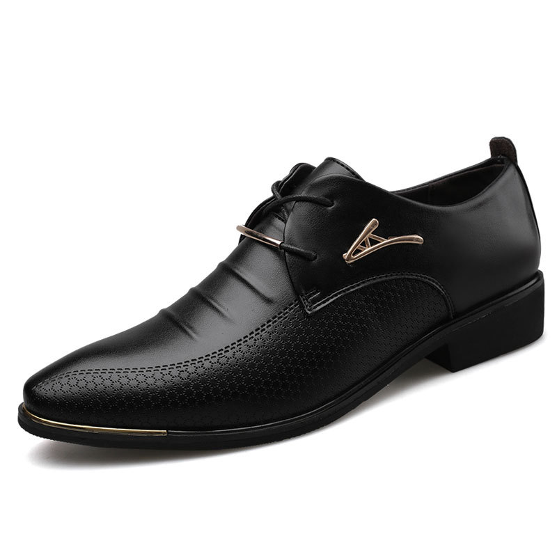 Men'S Leather Formal Shoes Lace Up Dress Shoes Oxfords Fashion Retro Shoes Elegant Work Footwear Men Dress Shoes 669