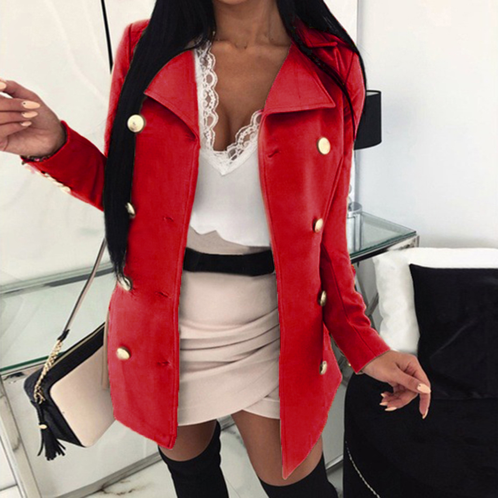 Spring Ladies Blazers 2019 Fashion Double Breasted Slim Blazer Women Suit Jacket Pink Female Plus Size Blazer Femme Formal