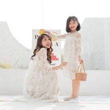Mother Daughter Dresses 2020 Lace Hollow Matching Clothes Family Look Girl and Mom Clothing Loose Dress Elegant