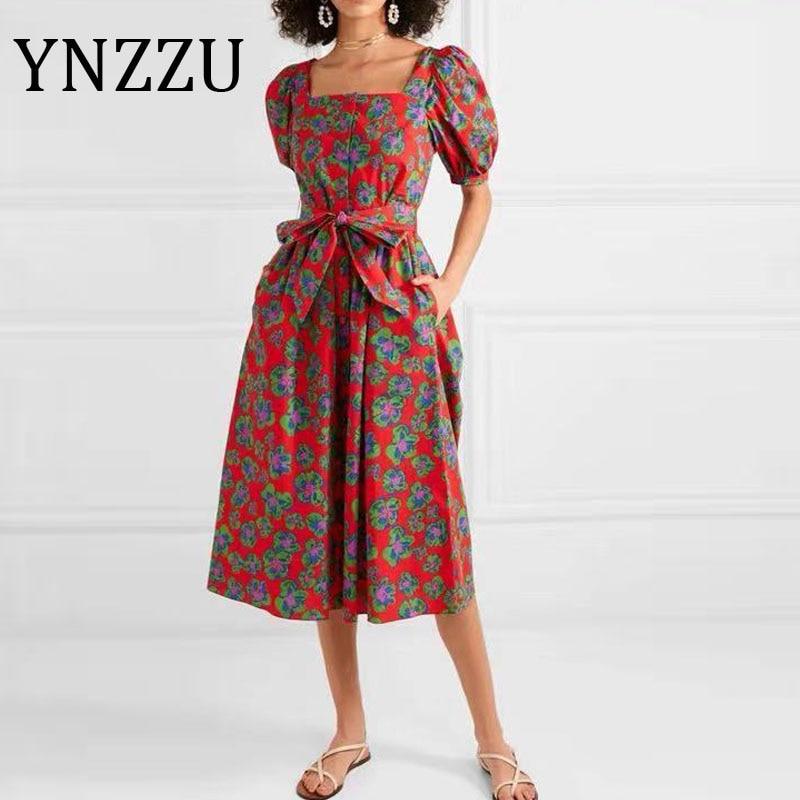 YNZZU Vintage Print Elegant Square Collar Dress Women 2020 Summer Short Sleeve Sash Elegant Female Party Dress Robe AD444