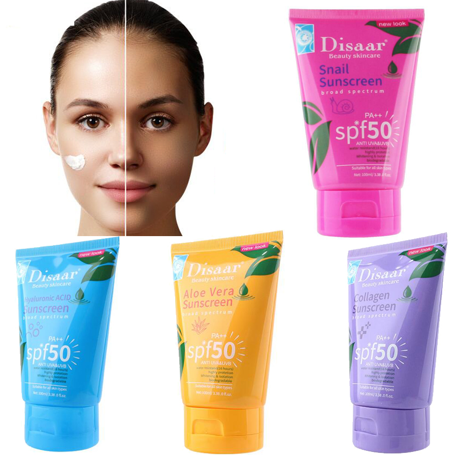 Disaar collagen Facial Body Sunscreen Whitening Sun Cream Sunblock Skin Anti-Aging Oil-control Moisturizing SPF 50 Face