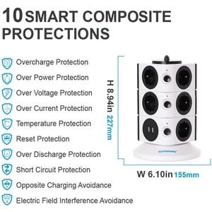 Image 5 - タワー電源タップ垂直サージ保護11/15ソケット2 usb充電ポート6。5フィート/2メートル延長ケーブル家庭用家電