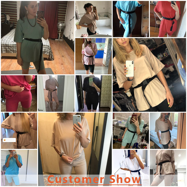 Simplee Casual Solid Outfits Women's Two Piece Suit with Belt Home Loose Sports Tracksuits Fashion Bicycle Summer Hot Suit 2020 3