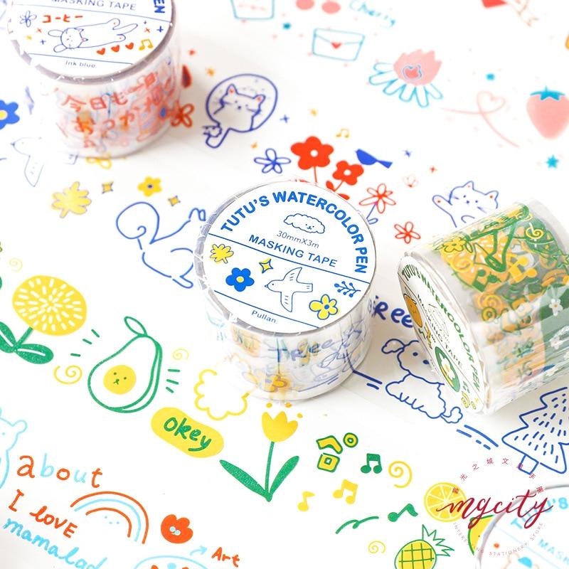 PET Cartoon Transparent Masking Tape Scrapbooking Kawaii DIY Diary Journal Decorative Adhesive Tape Label Stationery Supplies